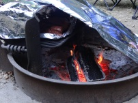 Cooking Real BBQ in a Tin Foil Campground BBQ Oven